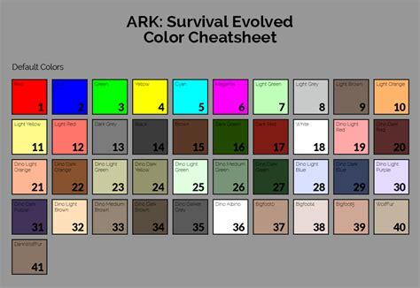 ark dino paint colors dinosaur color cheatsheet for ark survival evolved ark