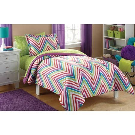 37082 chevron bed set mainstays chevron coordinated bed in a bag walmart
