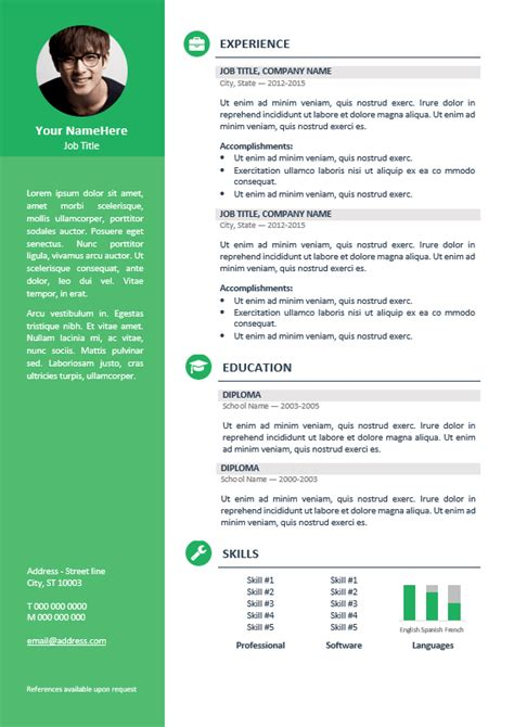 Corporate Cv Template by Orienta Free Professional Resume Cv Template Green