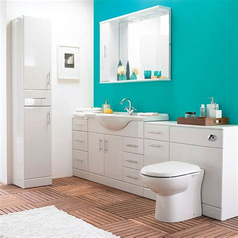 Teal Living Room Ideas by Alaska High Gloss White 6 Piece Vanity Unit Bathroom Suite