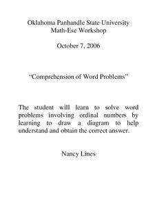 ordinal number word problems lesson plans worksheets