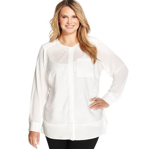 klein blouses lyst calvin klein plus size longsleeve mesh blouse in white