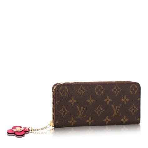 louis vuitton brown limited edition   clemence monogram flower charm pink wallet tradesy