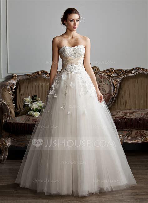 ball gown sweetheart floor length tulle wedding dress