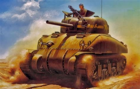 wallpaper art painting tank ww ma sherman images
