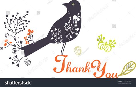 Simple Thank You Card With Bird Stock Vector Illustration Business Cards Uk Printing Cheap Mini Online Coutts Expensive European Size Glitter Templates Free Download Word Acrylic