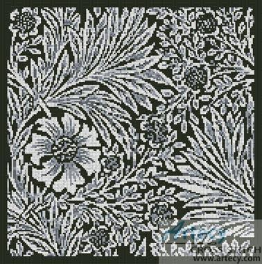 artecy cross stitch marigold black cross stitch pattern