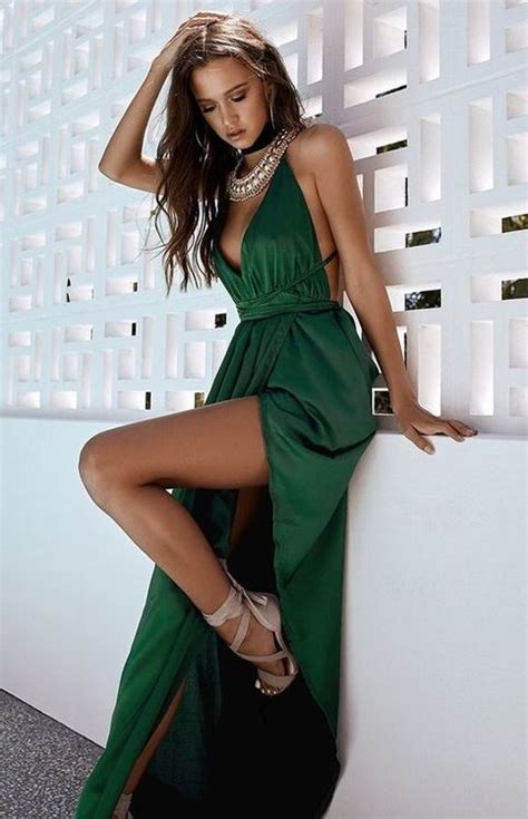 sexy emerald green prom dress satin prom gown
