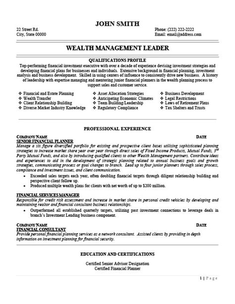 Wealth Manager Resume by Wealth Management Leader Resume Template Premium Resume Sles Exle