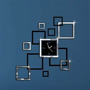 New d diy mirror wall clock modern design relogio de