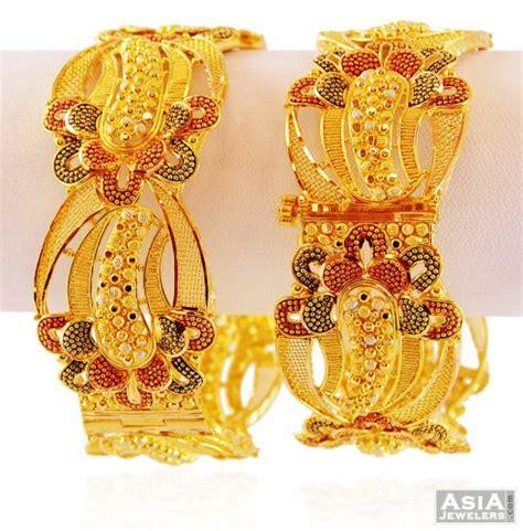 22k gold 3 tone filigree kada ajba59268 designer 22k gold wide kada with filigree designs in