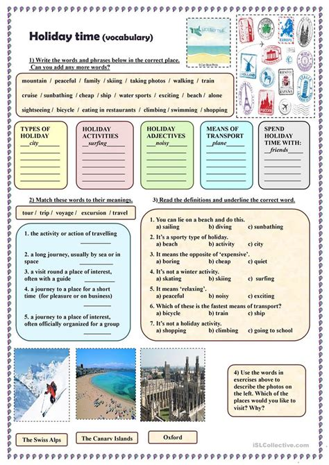 holiday time vocabulary english esl worksheets