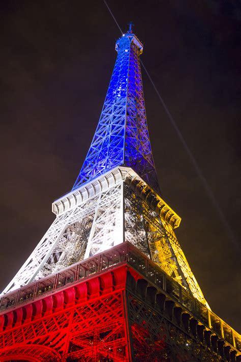 images night eiffel tower europe flag landmark