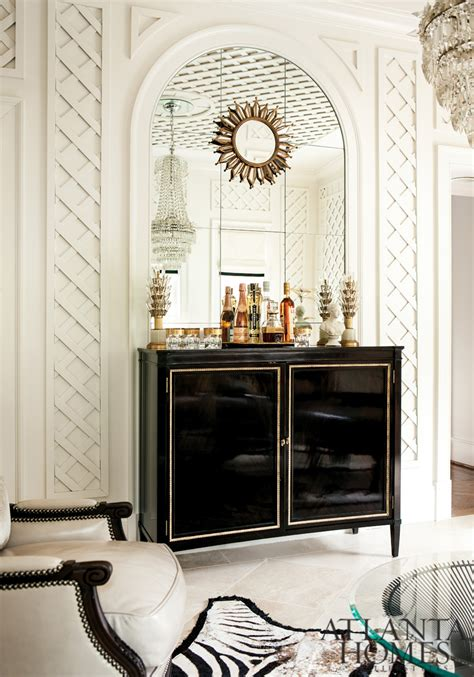 white lattice walls   black brass lined lacquer cabinet house decorators collection