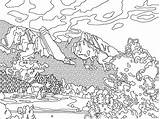 Coloring Mountain Colorado Range Printable Mountains Adult Avalanche Colouring Template Sheet Sheets Rockies Smoky Geology Nature Flatirons Dinger Space Popular sketch template