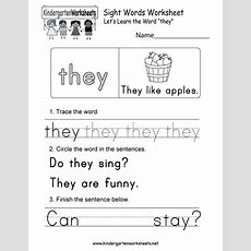 Sight Word (they) Worksheet  Free Kindergarten English