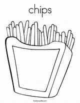 Coloring Chips Fries French Twisty Outline Noodle Twistynoodle Built California Usa Favorites Login sketch template