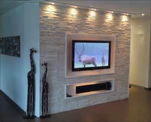 steinwand wohnzimmer gnstig kaufen steinwand mit tv 01