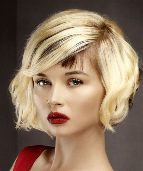 Light Hairstyles by Wavy Formal Bob Hairstyle With Asymmetrical Bangs