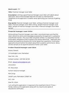 How To Write A Letter To A Recruiter Financial Manager Cover Letter Corrected