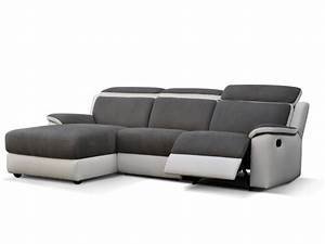 canape d39angle relax en microfibre gris et blanc souffle With canapé d angle convertible relax