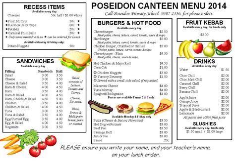 Canteen Menu Template by Meal Plan Template Pdf Best And Professional Templates