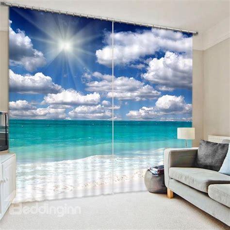 printed beach  white clouds  sunlight seaside