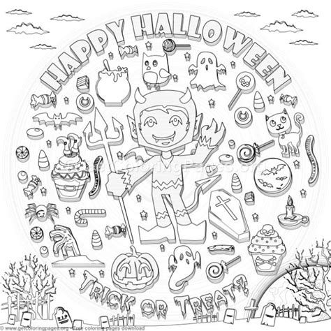 happy halloween coloring pages getcoloringpagesorg