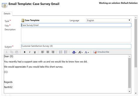 survey email template xrm formula 087 voice of the customer resolution survey email template 183 north52 support