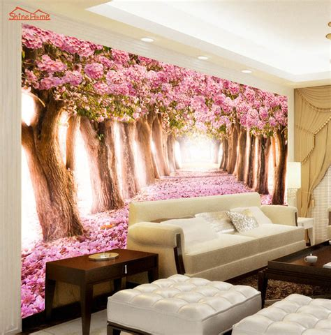 pink floral flower forest road  room wallpaper landscape