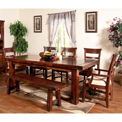 6 seat dining table set vineyard wood rectangular dining table chairs in rustic