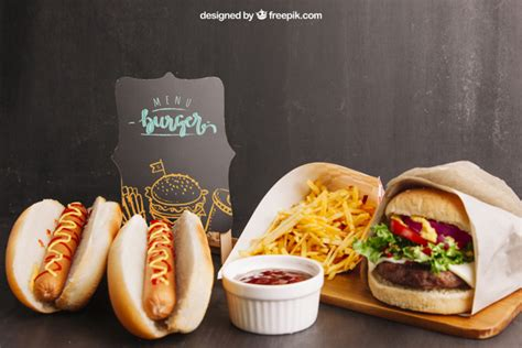 ✓ free for commercial use ✓ high quality images. Fast food mockup with two hot dogs and hamburger PSD file ...
