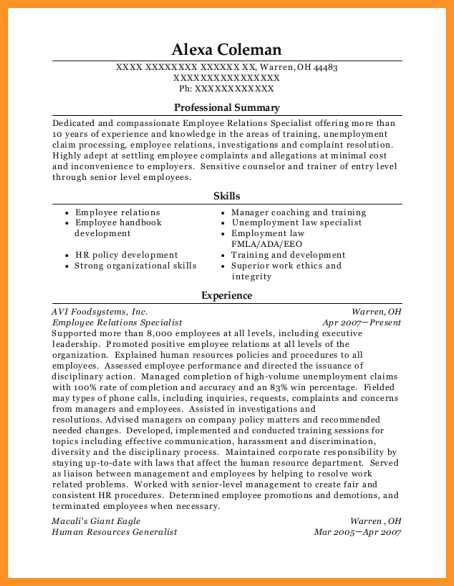 Employee Relations Resume by 14 15 Employee Relations Resume Southbeachcafesf