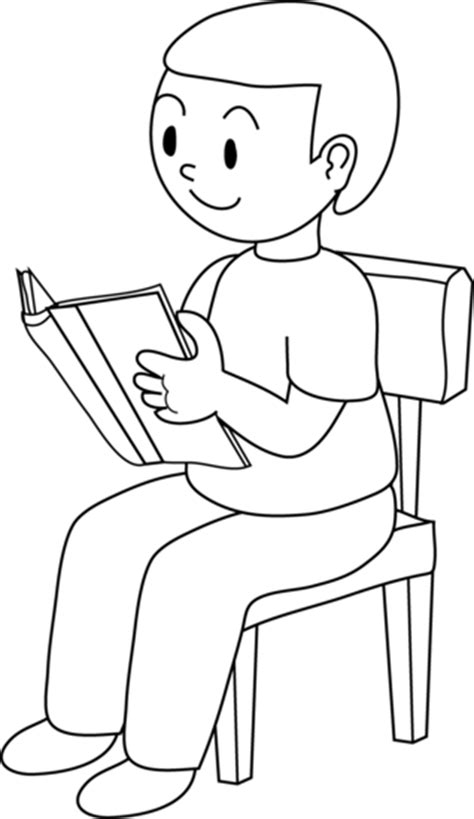 sit nicely clipart black and white clipart of boy sitting in chair clipground