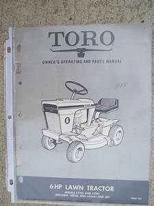 1968 Toro Lawn Tractor 6 Hp 57101 57201 Owner Manual Parts