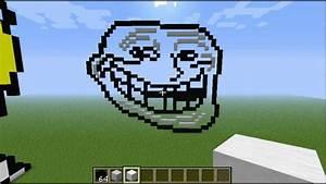 Minecraft Pixel Art Tutorial Trollface Part 3 YouTube
