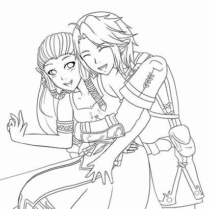 Coloring Anime Pages Couple Template Hugging Couples