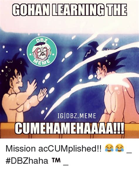Gohan Memes - gohan learning the em igi dbz meme cumehamehaaaa mission accumplished dbzhaha