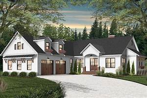 New American House Plan With Courtyard Garage With Game