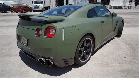 matte green custom nissan gtr matte car wrap miami florida