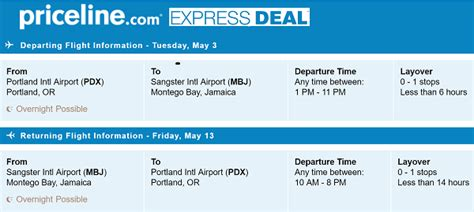 Priceline Offers Round Trip Flights Portland To Montego