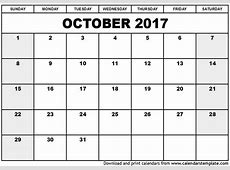 October 2017 Calendar Template printable calendar templates