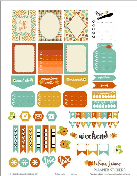 printable fall planner stickers sets lovely planner