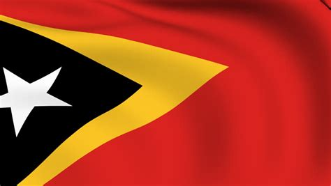 National Flag Of East Timor Waving In The Wind