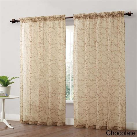 bellay scroll printed 84 inch sheer curtain panel colors