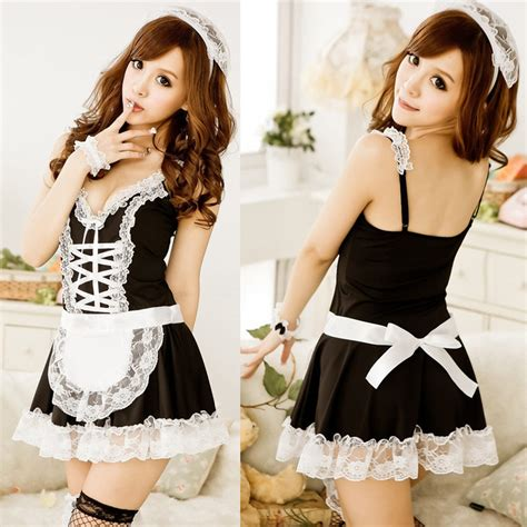 Alishebuy Sexy Lingerie Sexy Underwear Lovely Female Maid Lace Sexy Miniskirt Lolita Maid Outfit
