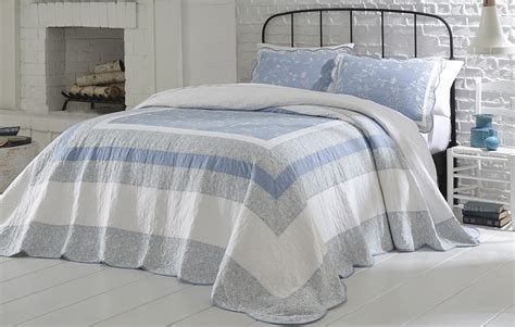 cannon embroidered bedspread blue spring home bed