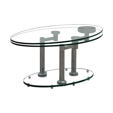 88% Off  Art Deco Movable Oval Glass & Metal Coffee Table
