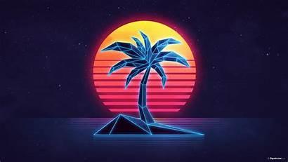 Palm Trees Sun 1980s Neon Island 80s