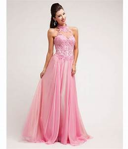 Prom Dresses Pink Beaded Lace Chiffon Halter Dress 1 1 ...